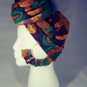 Brown and Geen Head Wrap set